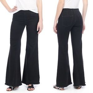 Free People Black Drapey A Line Pull On Jeans $78